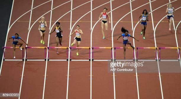 US athlete Kori Carter Canada's Sage Watson Jamaica's Ristananna Tracey Czech Republic's Zuzana Hejnova Switzerland's Léa Sprunger US athlete Dalilah...