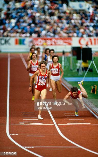 US athlete Mary Decker wins the 1500 Metres at the 1st World Athletics Championships in Helsinki Finland August 1983 On the right Zamira Zamira...
