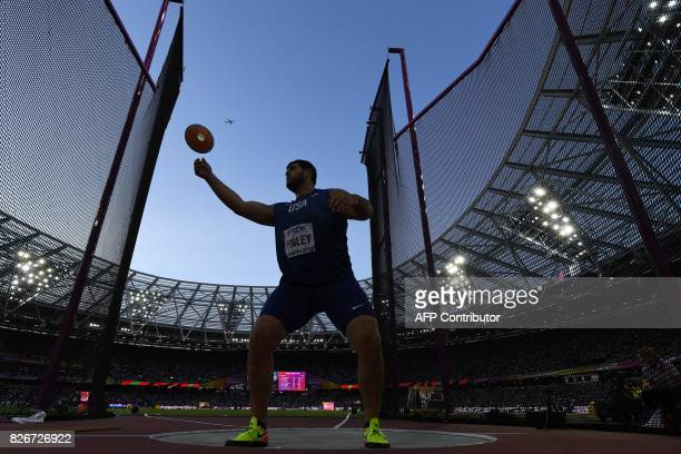 US athlete Mason Finley competes in the final of the men's discus throw athletics event at the 2017 IAAF World Championships at the London Stadium in...