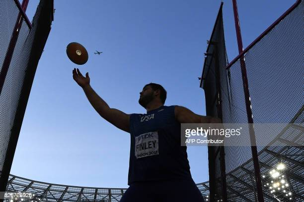 TOPSHOT US athlete Mason Finley competes in the final of the men's discus throw athletics event at the 2017 IAAF World Championships at the London...