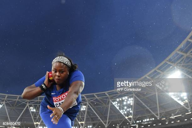 TOPSHOT US athlete Michelle Carter competes in the final of the women's shot put athletics event at the 2017 IAAF World Championships at the London...