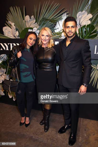 Athlete Michelle Waterson SVP and Managing Director IMG Catherine Bennett and UFC Athlete Yair Rodriguez attend E ELLE IMG celebration to kickoff...