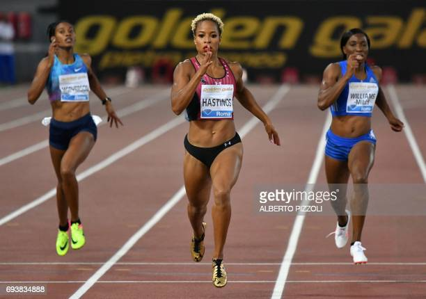 US athlete Natasha Hastings runs to win the women's 400m event at the Rome meeting of the IAAF Diamond League athletics competition at the Olympic...