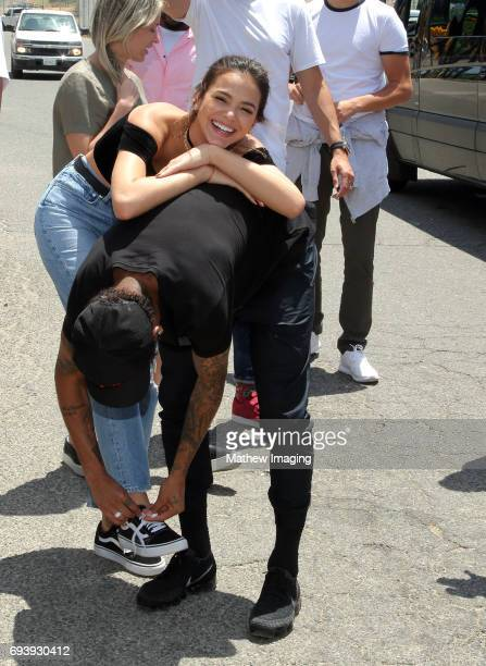 Athlete Neymar Jr and actress Bruna Marquezine are seen at Six Flags Magic Mountain on June 8 2017 in Valencia California