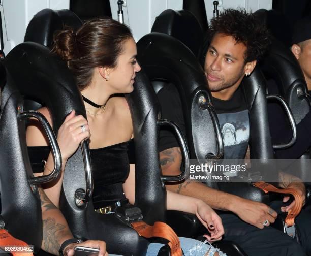 Athlete Neymar Jr and actress Bruna Marquezine ride Scream at Six Flags Magic Mountain on June 8 2017 in Valencia California