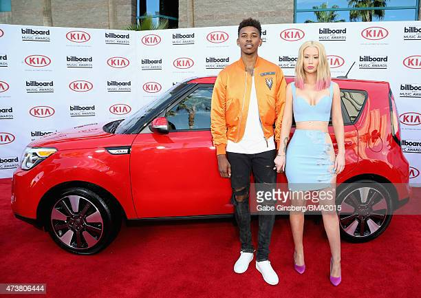 Athlete Nick Young and recording artist Iggy Azalea attend the 2015 Billboard Music Awards with Kia Motors at MGM Grand Garden Arena on May 17 2015...