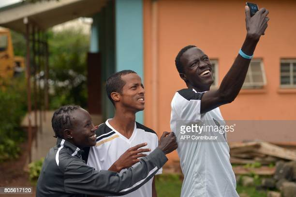 Athlete refugees South Sudan's Gai Nyan Somalia's Ahmed Bashir and South Sudanese refugee olympian at the Rio Olympic Games Rose Nathike Lokonyen...