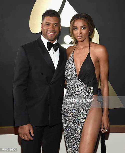 Athlete Russell Wilson and singer Ciara attends The 58th GRAMMY Awards at Staples Center on February 15 2016 in Los Angeles California