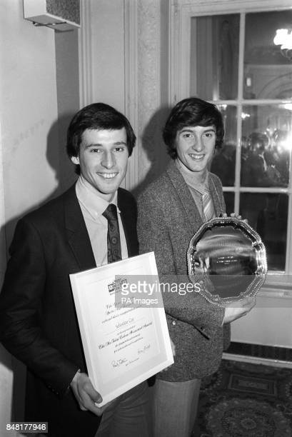 Athlete Sebastian Coe left and ice skater Robin Cousins at the Waldorf Hotel in London Coe succeeded Cousins as the holder of the Sports Aid...