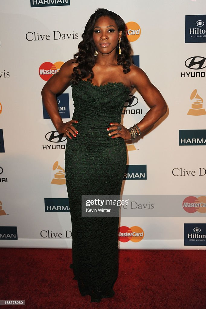 Athlete <a gi-track='captionPersonalityLinkClicked' href=/galleries/search?phrase=Serena+Williams+-+Tennis+Player&family=editorial&specificpeople=171101 ng-click='$event.stopPropagation()'>Serena Williams</a> arrives at Clive Davis and the Recording Academy's 2012 Pre-GRAMMY Gala and Salute to Industry Icons Honoring Richard Branson held at The Beverly Hilton Hotel on February 11, 2012 in Beverly Hills, California.