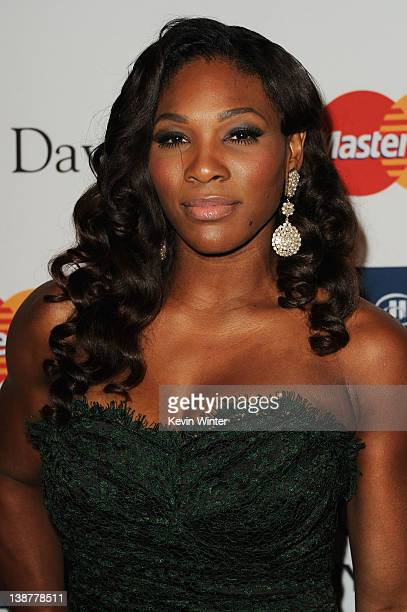 Athlete Serena Williams arrives at Clive Davis and the Recording Academy's 2012 PreGRAMMY Gala and Salute to Industry Icons Honoring Richard Branson...
