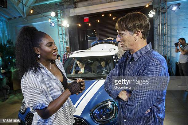 Athlete Serena Williams left and skateboarder Tony Hawk talk after the Bayerische Motoren Werke AG MINI Countryman compact sports utility vehicle is...