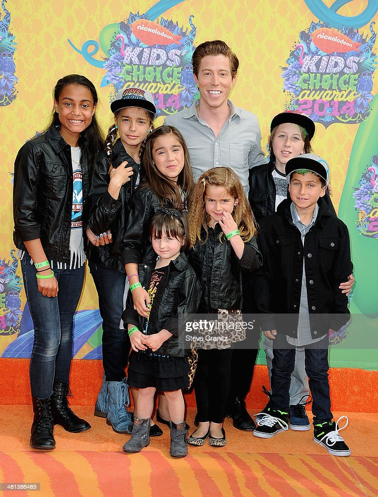 Athlete Shaun White (rear) and guests attend Nickelodeon's 27th Annual Kids' Choice Awards held at USC Galen Center on March 29, 2014 in Los Angeles, California.