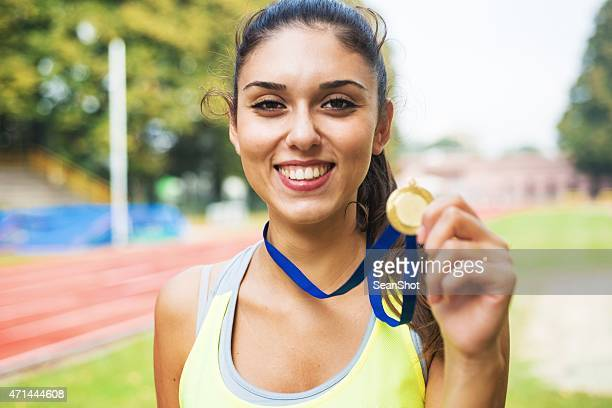 Athlete showing medals