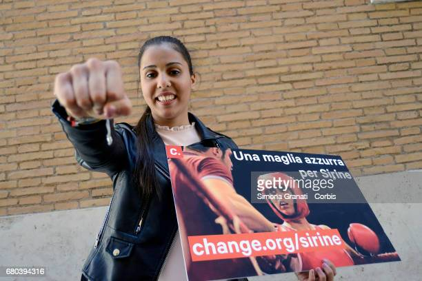 Athlete Sirine Chaarabi poses as she campaigns for early Italian citizenship on May 8 2017 in Rome Italy Having moved to Italy from her birth country...