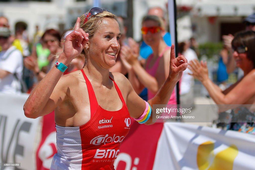 Athlete Sofie Goos finishes in second place in the women's competetion of the Ironman 70.3 Mallorca on May 10, 2014 in Mallorca, Spain.