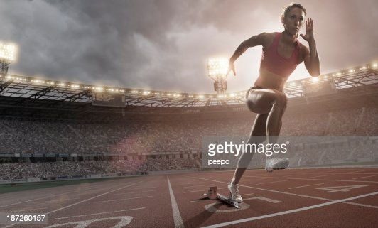 Athlete Sprinting Out Of Blocks