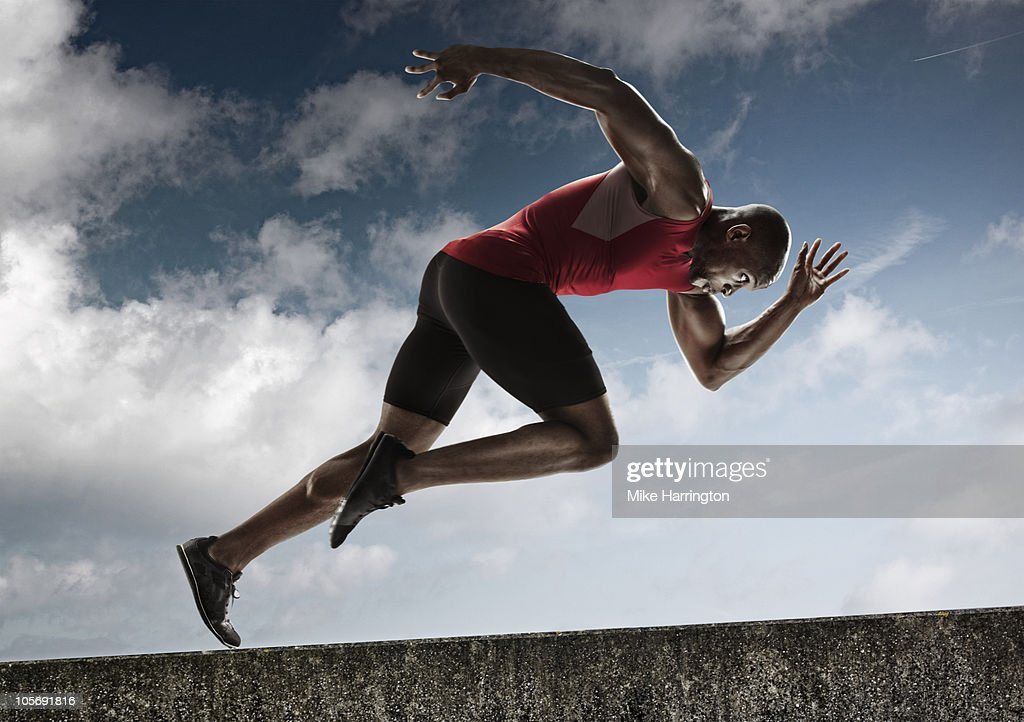 Athlete Sprinting up Steady Incline : Stock Photo