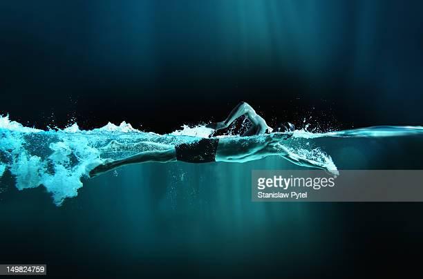 Athlete swimming crawl