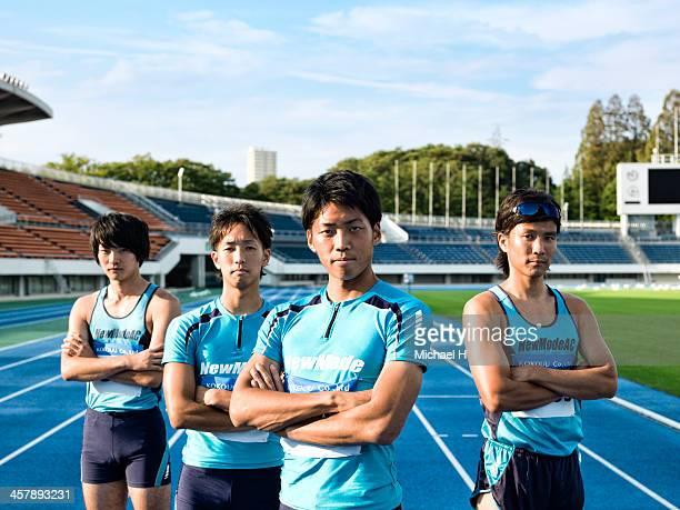 athlete team stand in the stadium
