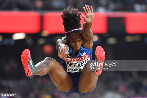 US athlete Tianna Bartoletta competes in the women's long jump athletics event at the 2017 IAAF World Championships at the London Stadium in London...