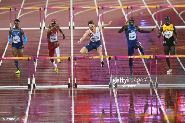 US athlete TJ Holmes Qatar's Abderrahaman Samba Norway's Karsten Warholm US athlete Kerron Clement and Jamaica's Kemar Mowatt compete in the final of...