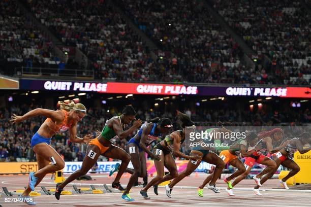 TOPSHOT US athlete Tori Bowie leaves the blocks to win the final of the women's 100m athletics event at the 2017 IAAF World Championships at the...