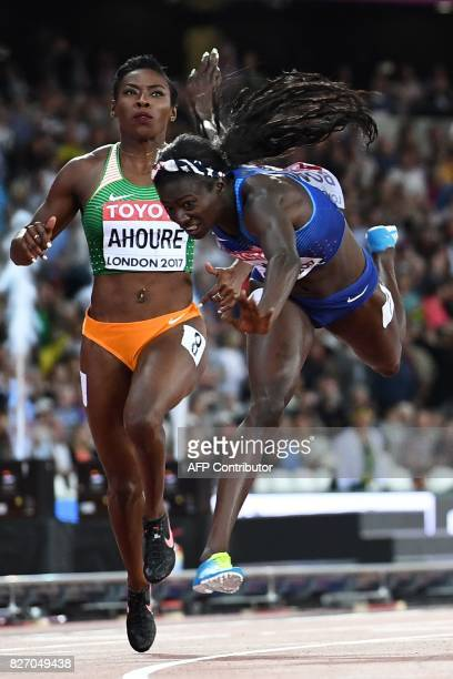 TOPSHOT US athlete Tori Bowie wins the final of the women's 100m athletics event at the 2017 IAAF World Championships at the London Stadium in London...