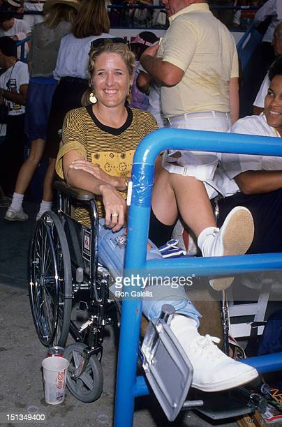 Athlete Tracy Austin attends US Tennis Open on September 10 1989 at Flushing Meadows Park in New York City