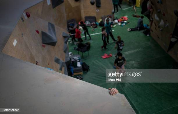 Athlete trains in isolation room prior semi finals of bouldering event Studio Bloc Masters 2017 on March 26 2017 in Pfungstadt Germany
