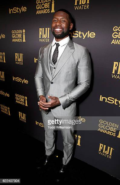 Athlete Trevante Rhodes attends the Hollywood Foreign Press Association and InStyles Celebration of the 2017 Golden Globe Awards Season on November...