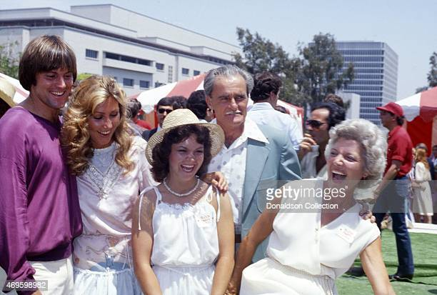 Athlete turned actor Bruce Jenner with his fiance Linda Thompson parents William and Esther Jenner and sister Lisa Jenner at a promotional event for...