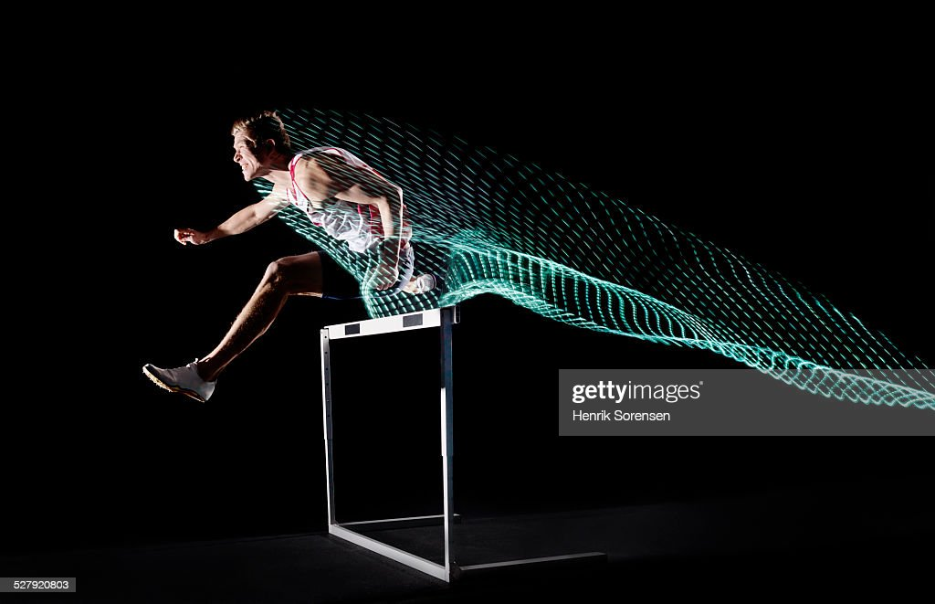 athlete with lighttrace