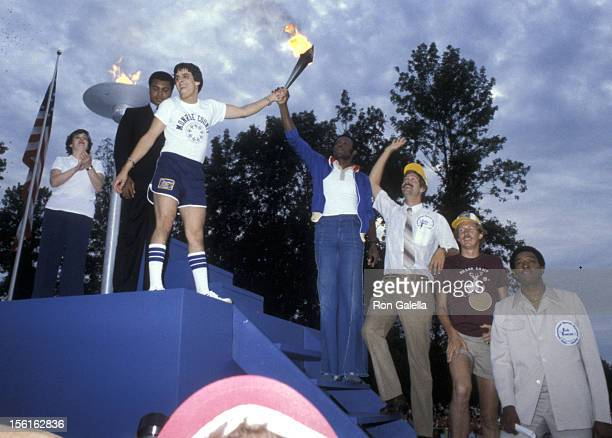 Athletees Mohammad Ali and Rafer Johnson attend International Summer Special Olympics on August 9 1979 at SUNY Campus in Brockport New York