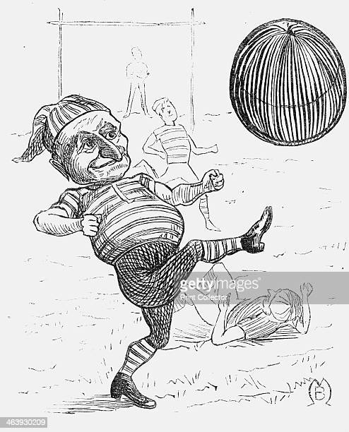 'Athletes and Animals' 1876 Mr Punch clad in a striped jersey kicks a football in one of the earliest images of the sport in the journal From Punch...