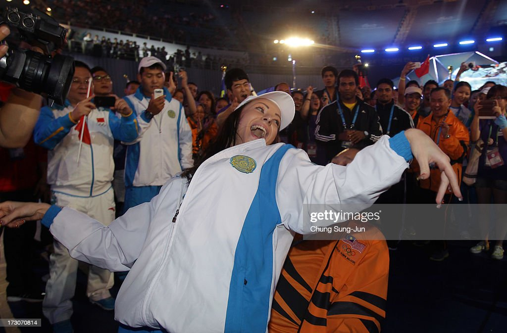 Athletes and volunteers dance and celebrate at a concert during during the closing ceremony of the 4th Asian Indoor & Martial Arts Games at Incheon Samsan World Gymansium on July 6, 2013 in Incheon, South Korea.