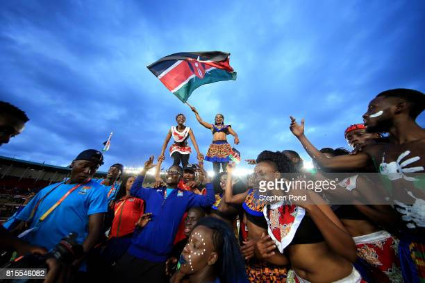 Athletes and volunteers join performers to dance during the closing ceremony on day five of the IAAF U18 World Championships on July 16 2017 in...