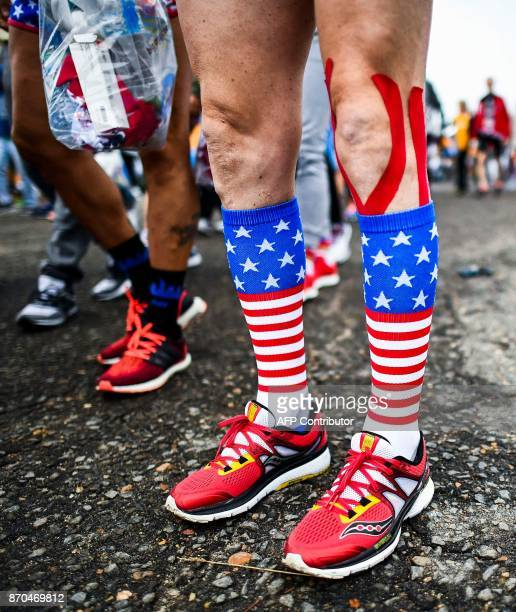 Athletes arrive for the New York City Marathon in New York on November 5 2017 Five days after the worst attack on New York since September 11 the...