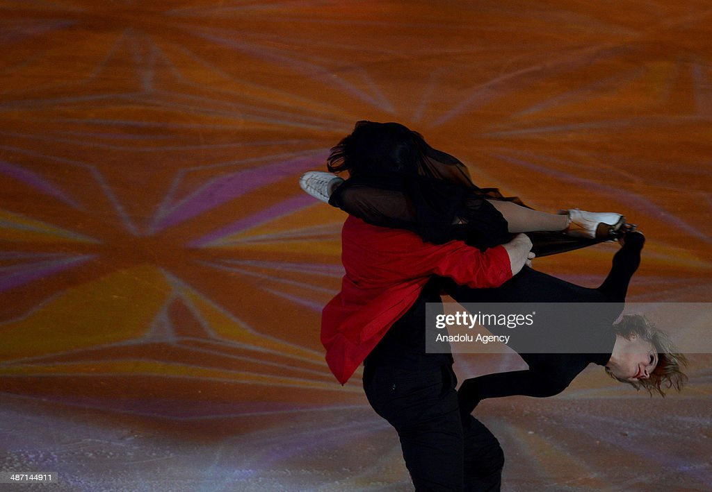 Athletes, became champion in figure skating category during the Sochi 2014 Winter Olympics, perform their skills at the Olympic Sports Complex Luzhniki, within the 'We are the champions' show in Moscow, Russia, on April 27, 2014.