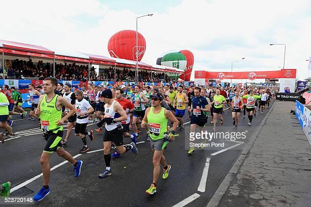 Athletes begin the mass start during the Virgin Money London Marathon on April 24 2016 in London England
