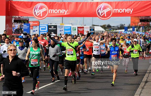 Athletes begin the mass start during the Virgin Money London Marathon on April 24 2016 in London England