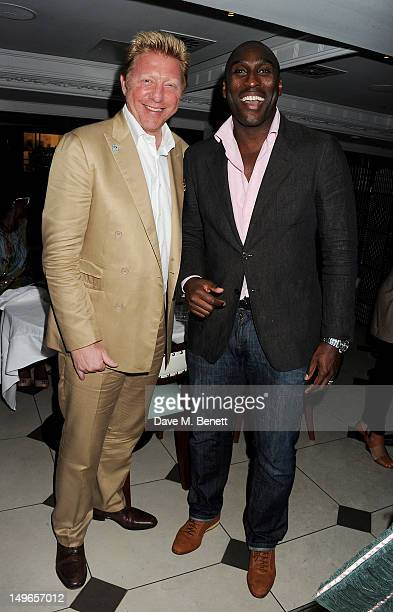 Athletes Boris Becker and Sol Campbell attend a private dinner hosted by Rachael Barrett celebrating Jamaica's Emancipation Day at Embassy London on...