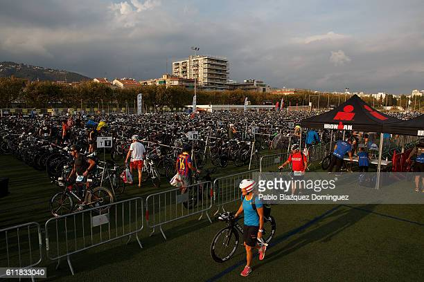 Athletes checkin their bikes a day before Ironman Barcelona on October 1 2016 in Calella near Barcelona Spain