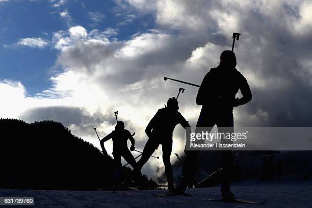 Athletes compete at the 10 km women's Pursuit during the IBU Biathlon World Cup at Chiemgau Arena on January 15 2017 in Ruhpolding Germany