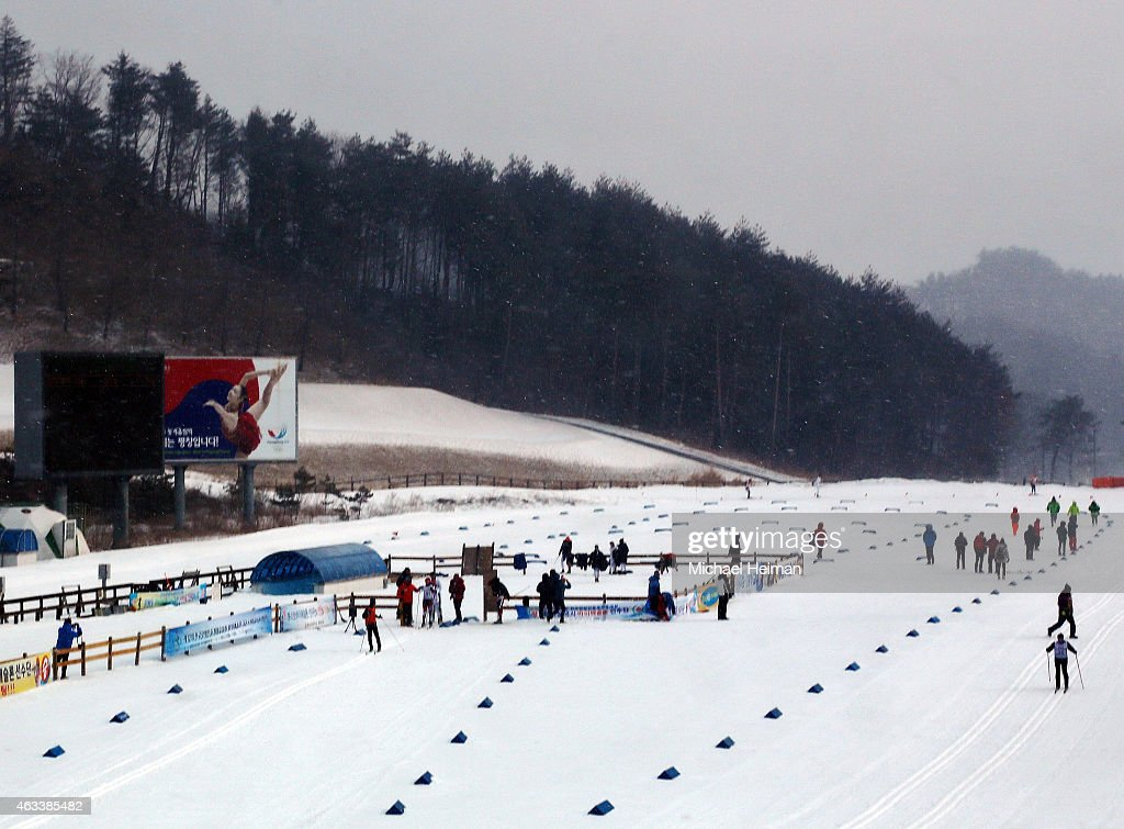 Athletes compete at the Alpensia Biathlon Centre in the Alpensia Sports Park on February 11 2015 in the mountain cluster of Pyeongchang South Korea...