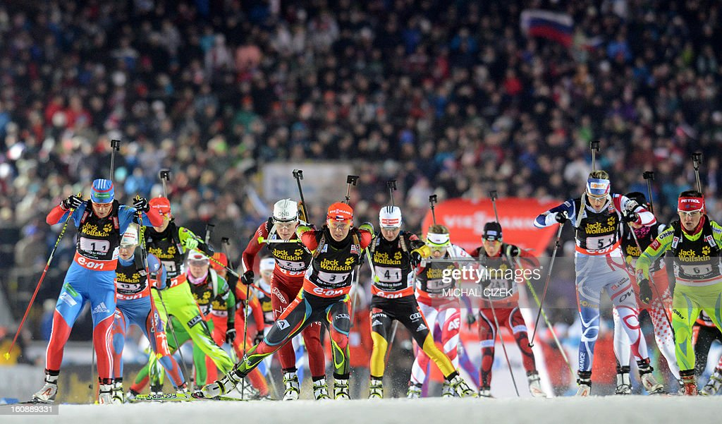 Athletes compete at the start of the mixed 2x6+2x7,5 km relay as part of IBU Biathlon World Championships in Nove Mesto, Czech Republic, on February 7, 2013..Norway's biathlon team won this competition ahead the team of France and Czech Republic's team was placed third.