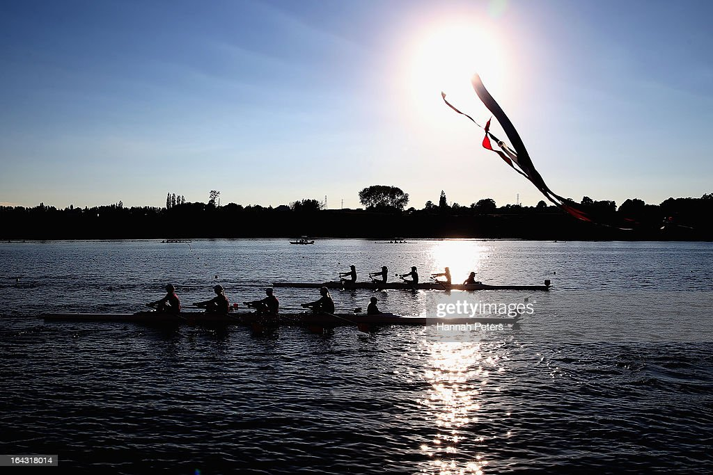 Athletes compete during day six of the Maadi Cup at Lake Karapiro on March 23, 2013 in Cambridge, New Zealand.