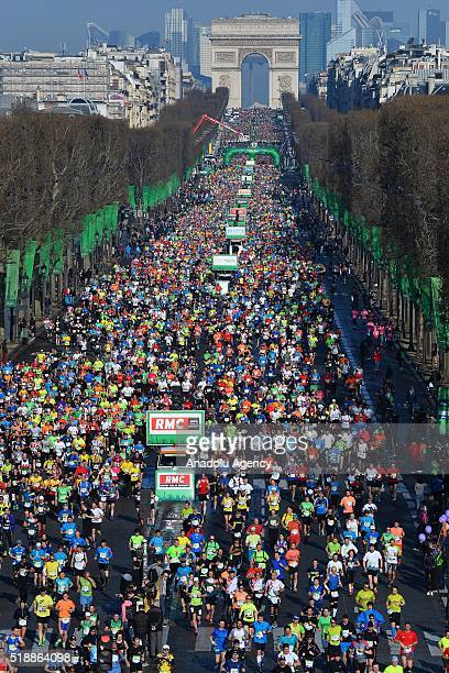 Athletes compete during the 40th Paris Marathon in Paris France on April 03 2016