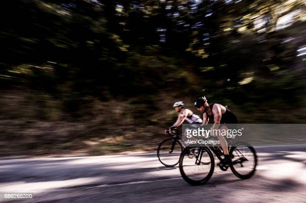Athletes compete during the bike leg of Ironman 703 Barcelona race on May 21 2017 in Barcelona Spain