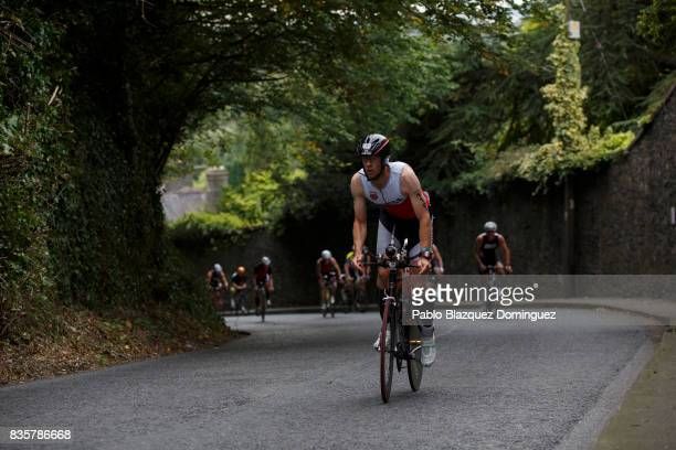 Athletes compete during the bike leg of IRONMAN 703 Dublin on August 20 2017 in Dublin Ireland